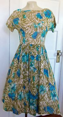 Vintage Women's 1950s Floral Fit and Flair Chiffon Dress Teal/Fern