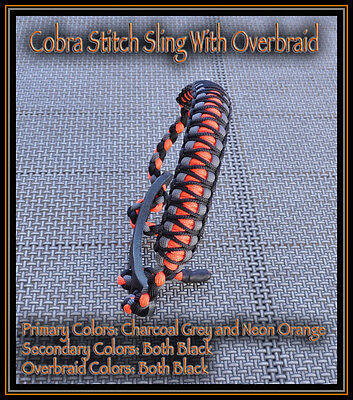Custom Paracord Bow Wrist Sling Cobra Stitch + Overbraid Neon Orange Grey Black