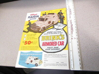 cereal box BACK Kelloggs 1950s HIGH GRADE BRINK'S ARMORED CAR windup premium