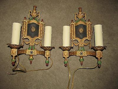 2 art deco cast iron polychromed antique sconces collectible sconces rewired exc
