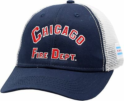 b4e7b1375cad5 Chicago Fire Department Arched Logo W Chicago Flag Patch Mesh 2-Tone Hat-