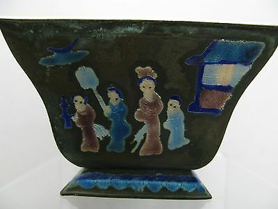Vintage Chinese Small Enamel on Metal Planter