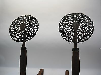 Pair Antique Arts & Crafts Style Fireplace Andirons