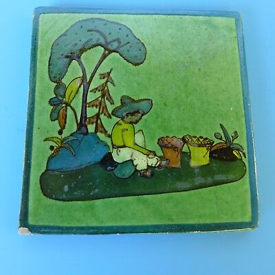 "Vintage Mexican Tlaquepaque pottery green tile boy under tree  5 3/4"" x 5 3/4"""