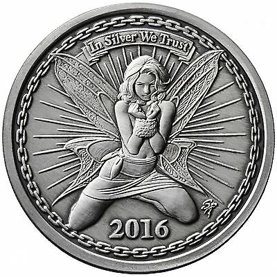 Reddit Silverbug Alyx the Fairy Antiqued Silver Proof Numbered COA and Coin