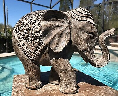 """NEW 12"""" TRUNK UP ELEPHANT STATUE Feng Shui Home Decor Spring Good Luck Gift"""