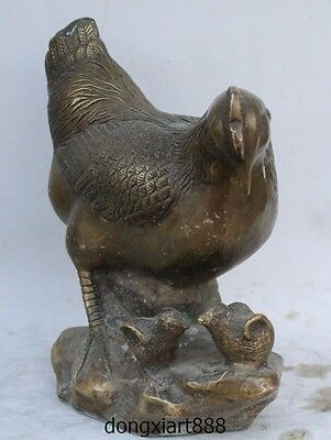 """10"""" China Bronze Copper FengShui Animal Wealth Coin Money Cock Rooster Statue"""