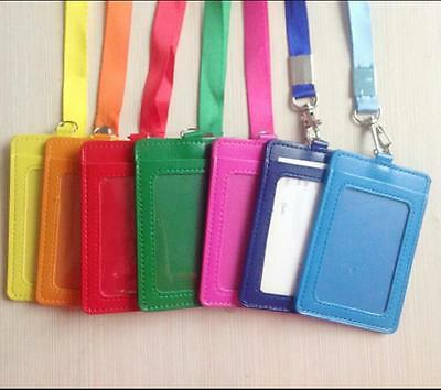 PU Leather Id Holders Case Business Badge Card Holder with Necklace Lanyard USHU