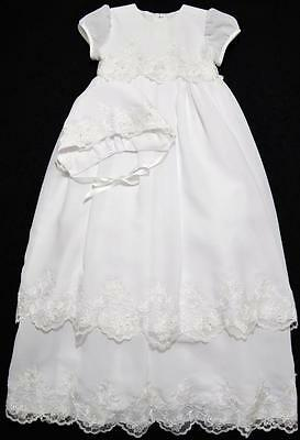 "Sarah Louise 3M Girls White 33"" Christening Gown W/bonnet~Nwt"