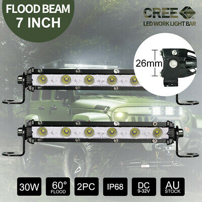 2x 7 inch 30W CREE FLOOD LED Light Bar Off Road Work  Fog 12V 24V 26mm Slim Lamp