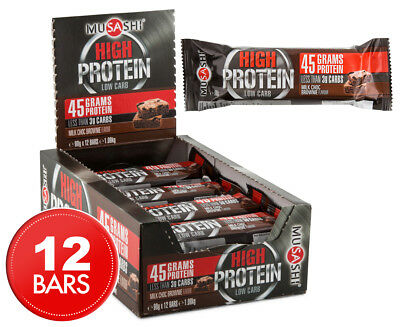 12 x Musashi Low Carb High Protein Bars Milk Chocolate Brownie 90g