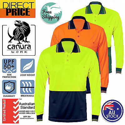 Hi Vis Polo Shirt Long Sleeve Work wear Safety Contrast Cool Dry Air vents UPF50