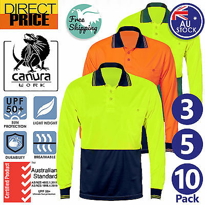 3 5 10x Hi Vis Polo Shirt Long Sleeve Work wear Safety Cool Dry Air vents UPF50+