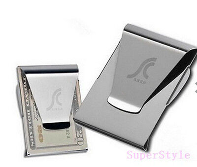 UK Stainless Steel Metal Silver Money Cash Note Thin Holder Clip Gift Wallet