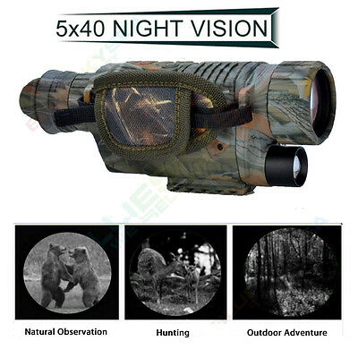AU Night Vision Cam Goggles Zoom Monocular IR Surveillance Gen Hunting Scope+8GB