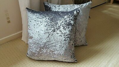NEW ? MetallicEffect SILVER GREY  Crushed Velvet 16in Cushion Cover