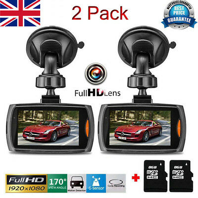 "2× 1080p HD Dash Cam Wide Angle Night Vision Car DVR 2.4""LCD Camera G Sensor"