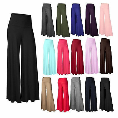 Fashion Soft Women's Banded High Waist  Palazzo Wide Leg Palazzo Pants L~3XL
