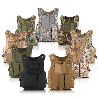 Tactical Military Airsoft Paintball Molle Strike Carrier Combat Vest Hunting NEW