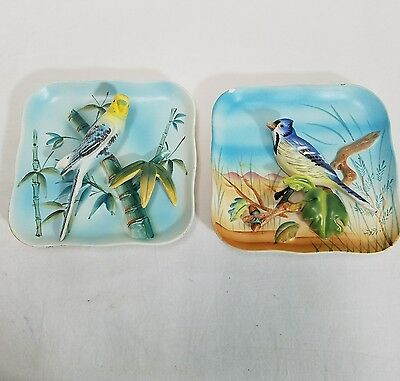 "Set Of Two Napco Bird Plaques Ceramic Vintage  Blue Jay And Parakeet 5"" X 5"""