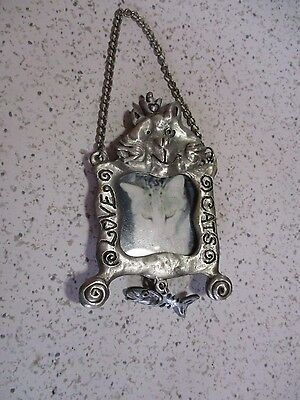 """Cat Picture Frame,  """"love Cats"""", Dangling Fish, Chain To Hang On Wall, 1997, Sm"""