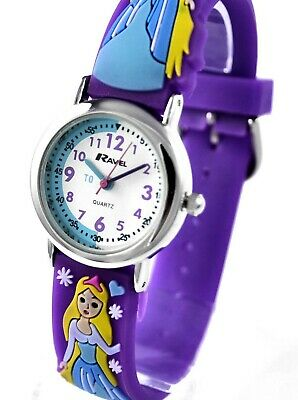 Young Girls Cute Time Teacher Quality Watch 3D Ice Princess Purple Strap Ravel