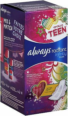 Always Totally Teen Radiant Pads With Flexi-wings, Regular 28 ea (Pack of 6)