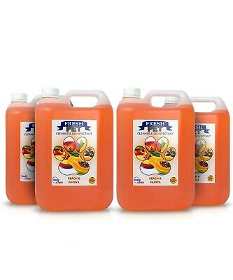 4 X 5L FRESH PET Kennel Cattery Disinfectant, Cleaner, Deodoriser PEACH & PAPAYA