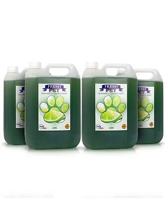4 X 5L FRESH PET Kennel Cattery Disinfectant, Cleaner, Deodoriser LIME