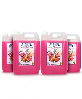 4 X 5L FRESH PET Kennel Cattery Disinfectant Cleaner, Deodoriser PINK GRAPEFRUIT