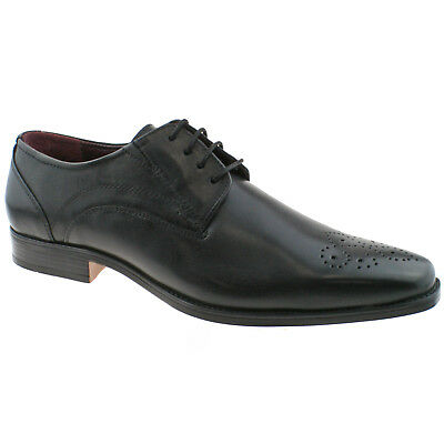Mens Lotus Birkdale Black Leather Memory Foam Office School Wedding Shoes