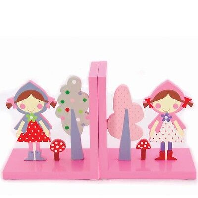 New Wooden Little Red Riding Hood Bookends kids Room Decor