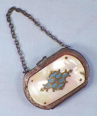 Mother of Pearl Shell Change Purse Silvertone Metal Blue Paint Victorian Antique