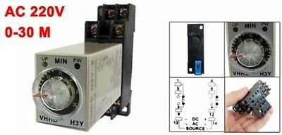 NEW AC 220V 0-30 Minute 30m Timer Power On Delay Time Relay 8 Pin H3Y-2 w Socket