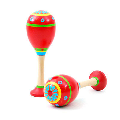 New set of 2 wooden Maracas (standable) Red colour