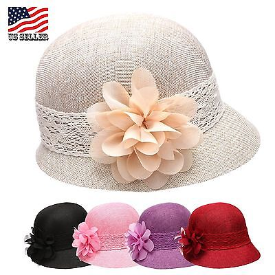 Women's Gatsby Linen Cloche, Bucket Hat With Lace Band And Flower, Summer Hat