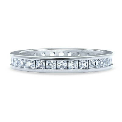 BERRICLE Sterling Silver Princess Cut CZ Anniversary Wedding Eternity Band Ring
