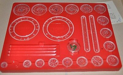 vintage SPIROGRAPH Playset #401 vintage TOY 1969 Red Tray (22 pieces, no box)-rj