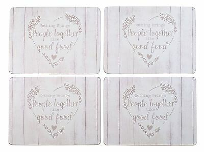 Set Of 4 Good Food Heart Cream Beige Cork Backed Placemats 29 X 21 X 0.4Cm