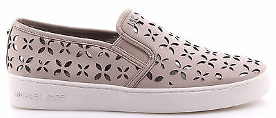Women's Shoes Sneakers MICHAEL KORS Keaton Slip On Lasered Leather Cement Silv