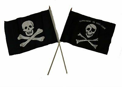 """12x18 12/""""x18/"""" Jolly Roger Pirate Commitment Excellence Sleeve Flag Garden"""