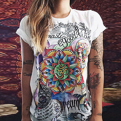 Donna Estate T-Shirt manica corta Casual Graffiti Stampa Maglia Larga Gadget