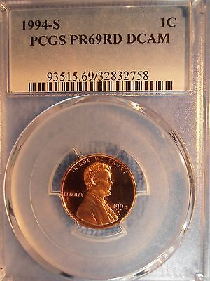 1994 S Lincoln Cent Proof PCGS PF69 RD DCAM- FREE SHIPPING