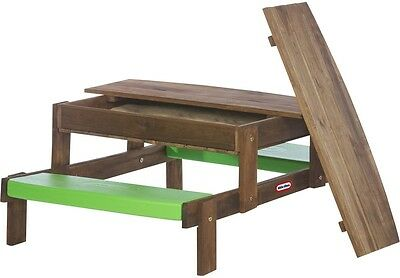 Little Tikes 2In1 Wooden Sand And Picnic Table for 4 Children, Sandpit with Lid