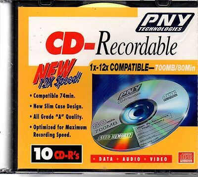 PNY Technologies CD-R Recordable 1x-12x Compatible 700MB/80Min - 10 Pack