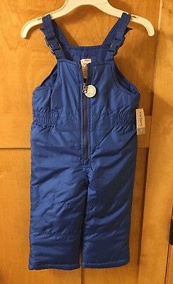 CARTER'S Toddler Boy Solid Bib Snow Pants, Size 3T, Blue $44 New NWT