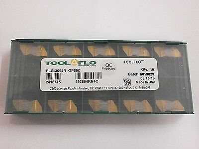 10pc) ToolFlo FLG 3094R GP50 Top Notch Coated Carbide Grooving Inserts NG 3094R