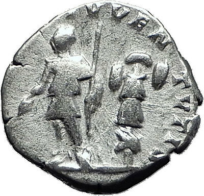 CARACALLA 196AD Silver Authentic Ancient Roman Coin Trophy Tropaion Rare  i60408
