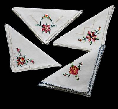 Vintage group of 4 pretty rose embroidered napkins measuring 28cm square