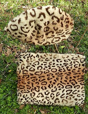 Vintage Women's Leopard Print Muff Purse combo and matching hat - needs repair